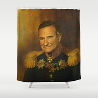 replaceface Shower Curtains featuring Robin Williams - replaceface by replaceface