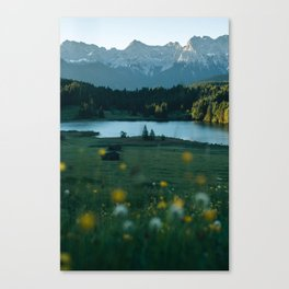 Sunrise at a mountain lake with forest - Landscape Photography Canvas Print