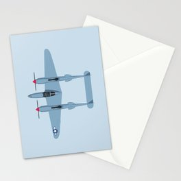 P-38 Lightning WWII Fighter Aircraft - Grey Stationery Cards