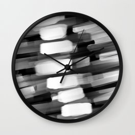 Racing City Lights - Black and White Wall Clock