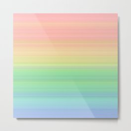 Abstract Pastel Rainbow II Pretty gradient stripes Metal Print
