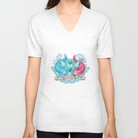 pisces V-neck T-shirts featuring Pisces by StudioBlueRoom