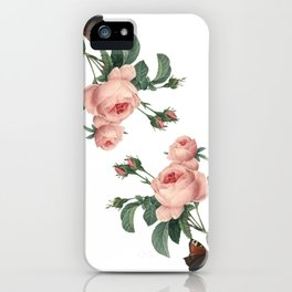 Butterflies in the Rose Garden on White iPhone Case