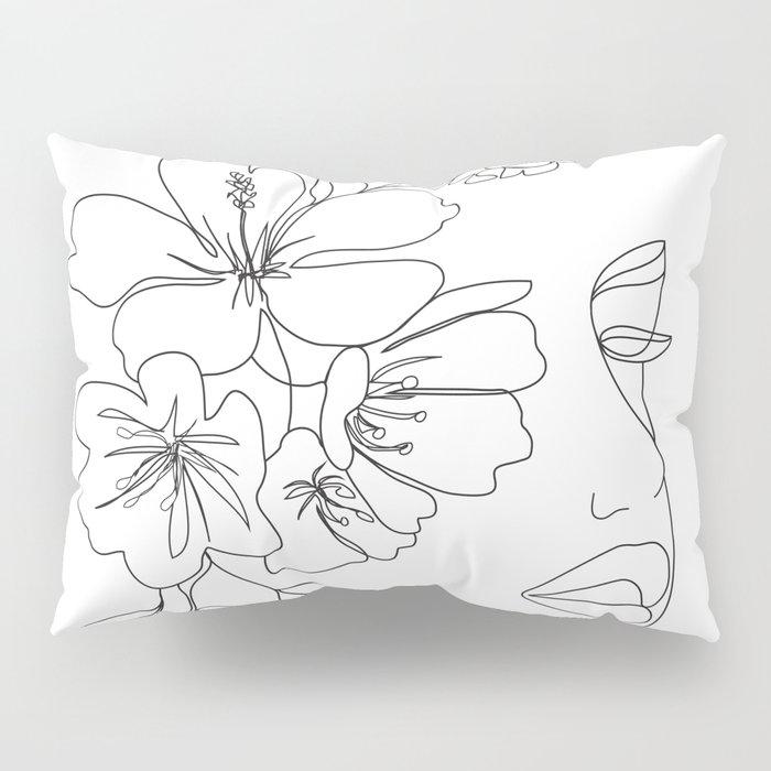 Minimal Line Art Woman Face II Pillow Sham