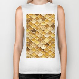 Gold Trendy Glitter Mermaid Scales Biker Tank