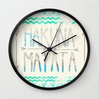 hakuna Wall Clocks featuring Hakuna Matata by Sara Eshak