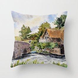 New Zealand, movie set   Watercolor Throw Pillow