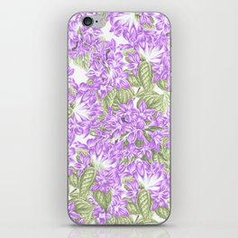 Botanical violet lavender green floral pattern iPhone Skin