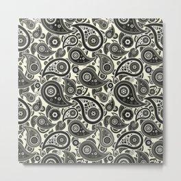 Beige Paisley Pattern Metal Print