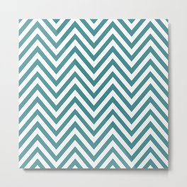 Zigzag Pattern, Chevron Pattern - White Blue Metal Print