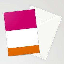 Tri-Color [Pink, White, Orange] Stationery Cards