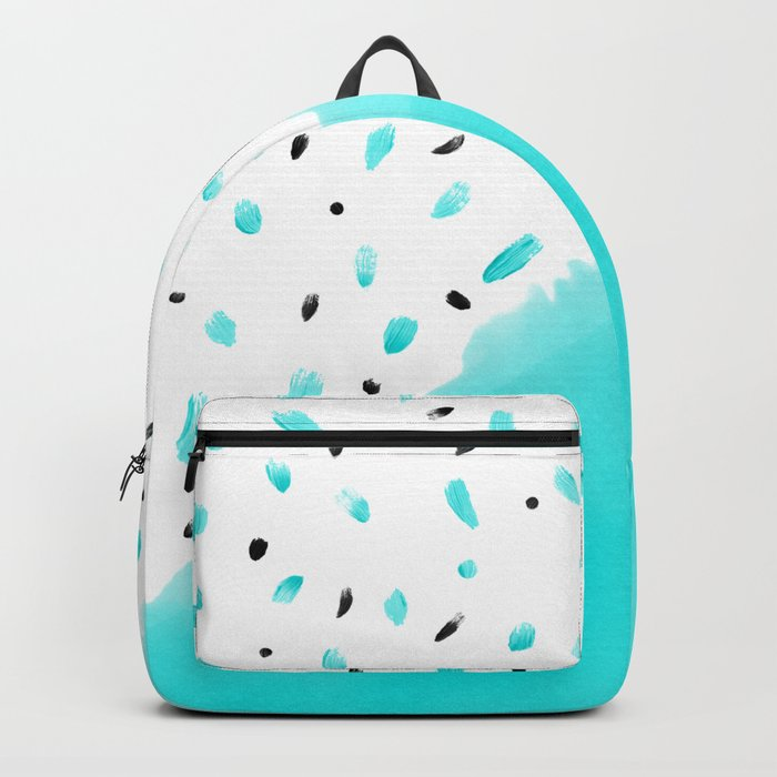 43092dd576 Bright teal blue color block acrylic polka dots pattern Backpack by ...