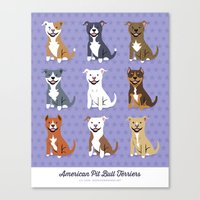 pit bull Canvas Prints featuring American PIT BULL TERRIERS by Doggie Drawings