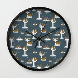 The gingerbread forrest - Fabric pattern Wall Clock