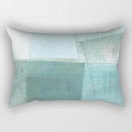 Turquoise Aqua Taupe Geometric Abstract Painting Rectangular Pillow