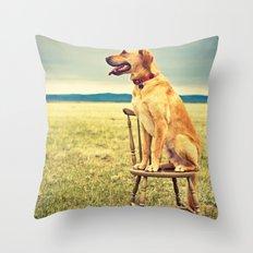 DogOnChair Throw Pillow
