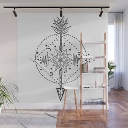 Modern tattoo flash flower with arrow. Art festival poster with star and moon Wall Mural