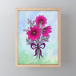 Magenta Cosmos with German Statice Bouquet on Sky Framed Mini Art Print