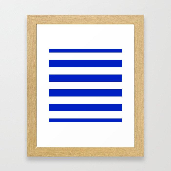 Cobalt Blue and White Wide Cabana Tent Stripe Framed Art Print