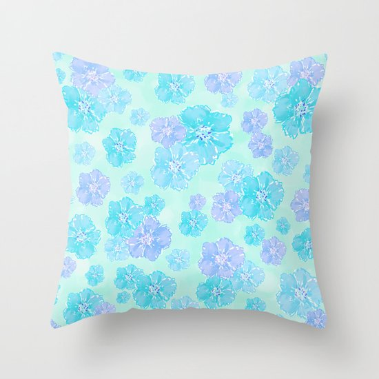 Blossoms Aqua Blue Mint Throw Pillow