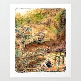 Badger Burrow Village Art Print