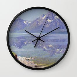 Jackson Hole, Grand Tetons, and Jackson Lake alpine landscape painting by William R. Leigh Wall Clock