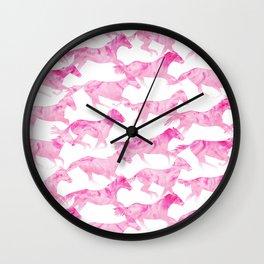 Running Watercolor Horses Pattern - Pink Wall Clock