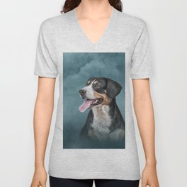 Drawing Appenzell Mountain Dog Unisex V-Neck
