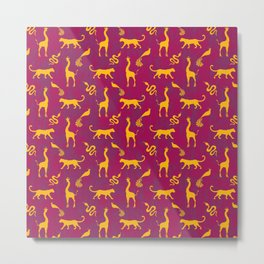 Animal universe. Yellow silhouettes of wild animals. African giraffes, leopards, cheetahs. snakes, exotic tropical birds. Tribal ethnic nature magenta dark red distressed pattern. Metal Print