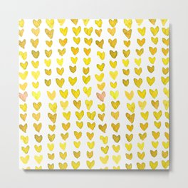 Brush stroke hearts - yellow Metal Print