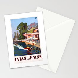 1937 France Evian-Les-Bains Travel Poster Stationery Cards