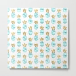 Elegant faux gold pineapple pattern Metal Print