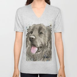 Newfoundland Dog Art Unisex V-Neck