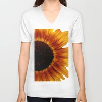 sunflower V-neck T-shirts featuring Sunflower5 by Regan's World