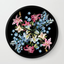Vintage Delphiniums and lilies watercolor paint on a dark background Wall Clock