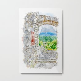 Aquarelle sketch art. Town with stone gate and street view, Istria, Croatia Metal Print