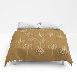 Minimal Mustard Monstera Pattern Comforters