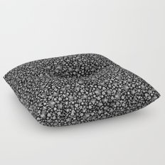 Flora Black Floor Pillow