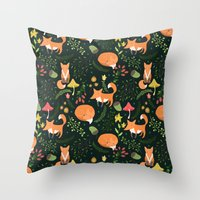 foxes Throw Pillows featuring Foxes by Julia Badeeva