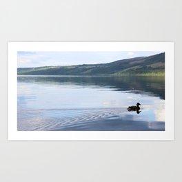 Duck gliding on Loch Ness Art Print