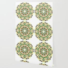 white grey green brown mandala Wallpaper