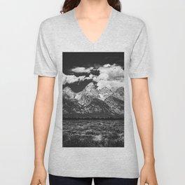 Mountain Summer Escape - Black and White Tetons Unisex V-Neck
