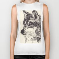 wolves Biker Tanks featuring Wolves by Maria Gabriela Arevalo Reggeti