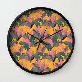 Retro Luxe Lilies Pattern Wall Clock