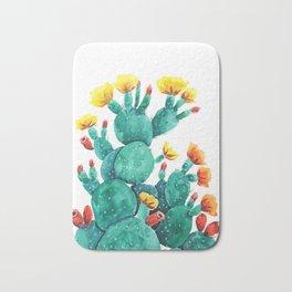 flowering cactus watercolor painting Bath Mat