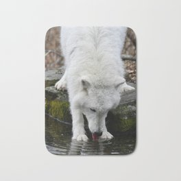 Thirsty Wolf Quenching His Thirst Bath Mat