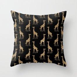 Black Gold Glitter Giraffe Pattern Throw Pillow