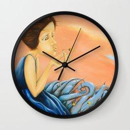 Girl in a Blue Field Wall Clock