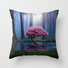Beautiful lonely pink tree and pond in the woods at night Throw Pillow
