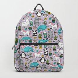 Narwhal and Friends, Emoji Tween Print, Unicorn, Cute Panda, Frappuccino, Penguin, Hippo Girls Art Backpack